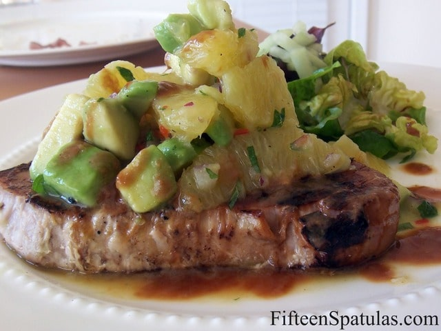 Seared Ahi Tuna with Orange Mint Avocado Salsa » Fifteen Spatulas