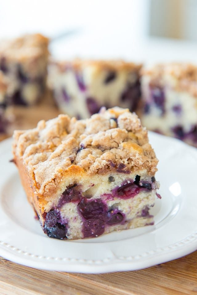 This Blueberry Buckle is loaded with tons of blueberries and baked with a cinnamon streusel crumb topping. Perfect for brunch!