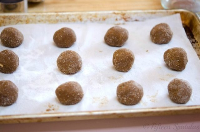 cookie dough balls made with ginger and molasses