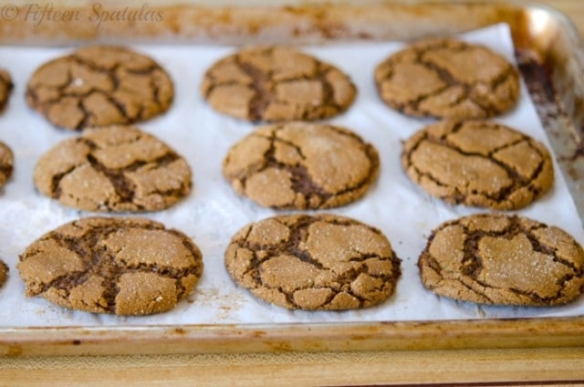 crinkled ginger molasses cookies for Christmas