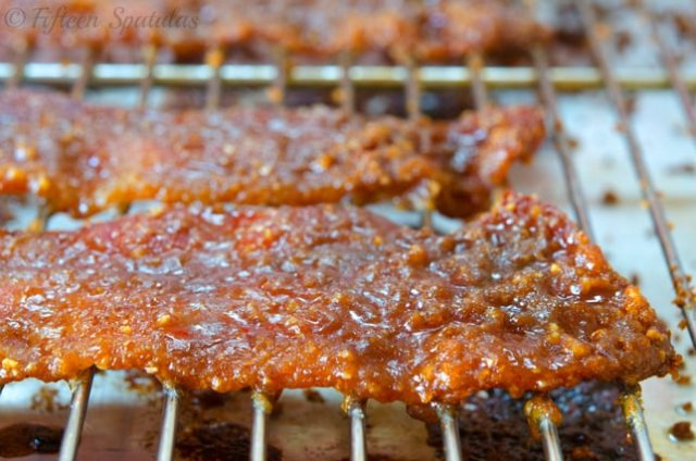 roasted praline bacon pressed with brown sugar and pecans