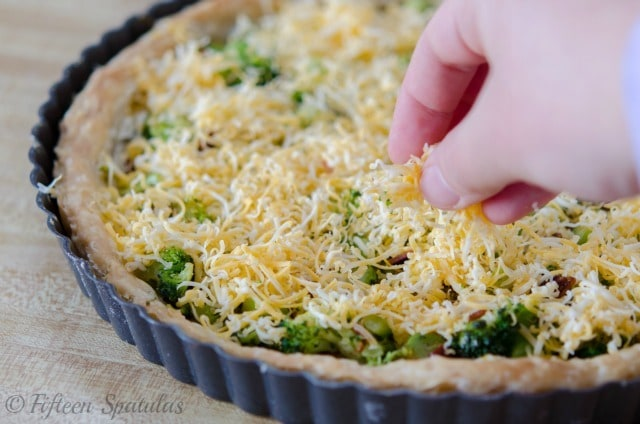 Cheesy Broccoli Bacon Tart Fifteen Spatulas