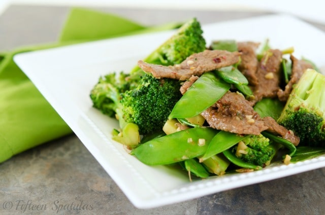 Beef stir fried with broccoli and snap peas