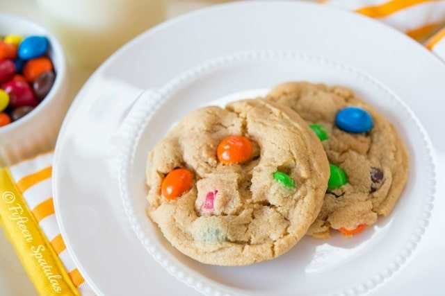 Peanut Butter M&M Cookies Recipe @fifteenspatulas