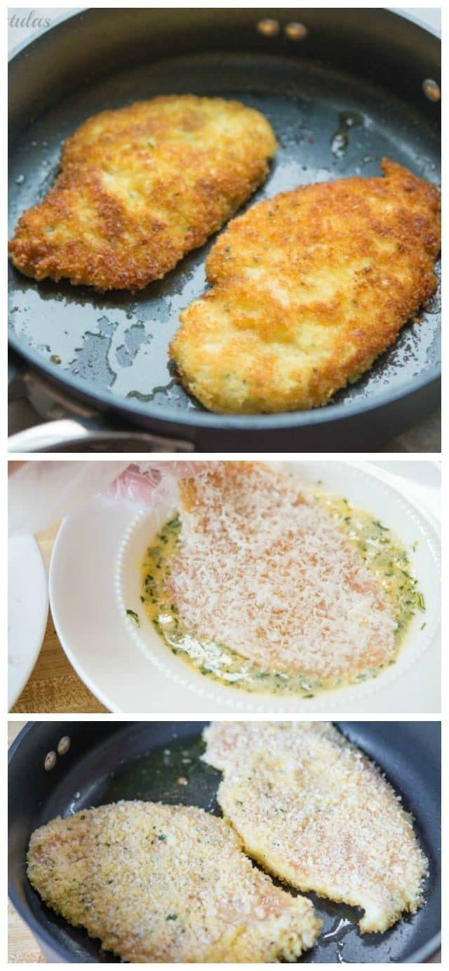 Parmesan Crusted Chicken is a quick, easy, and delicious recipe to make for dinner. Thin chicken cutlets are coated in parmesan, egg, and panko bread crumbs, and pan fried until crispy!