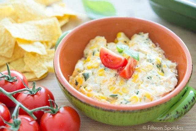 Poblano Corn Dip Recipe @fifteenspatulas