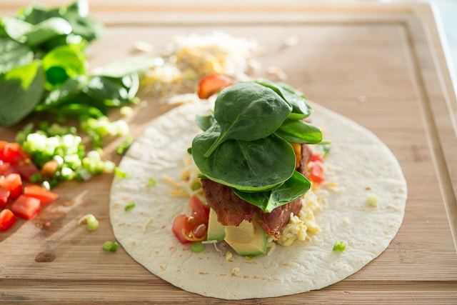Breakfast Burritos Recipe - A filling savory breakfast with eggs, bacon, and cheese