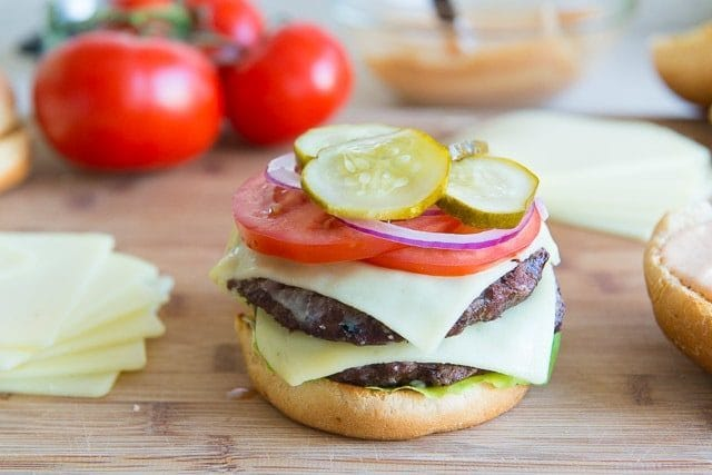 Classic Double Decker Burger with Land O Lakes Deli American