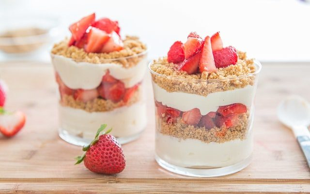No oven required for this No Bake Strawberry Cheesecake Parfait