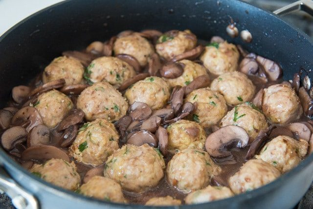 Baked Turkey Meatballs with Mushrooms