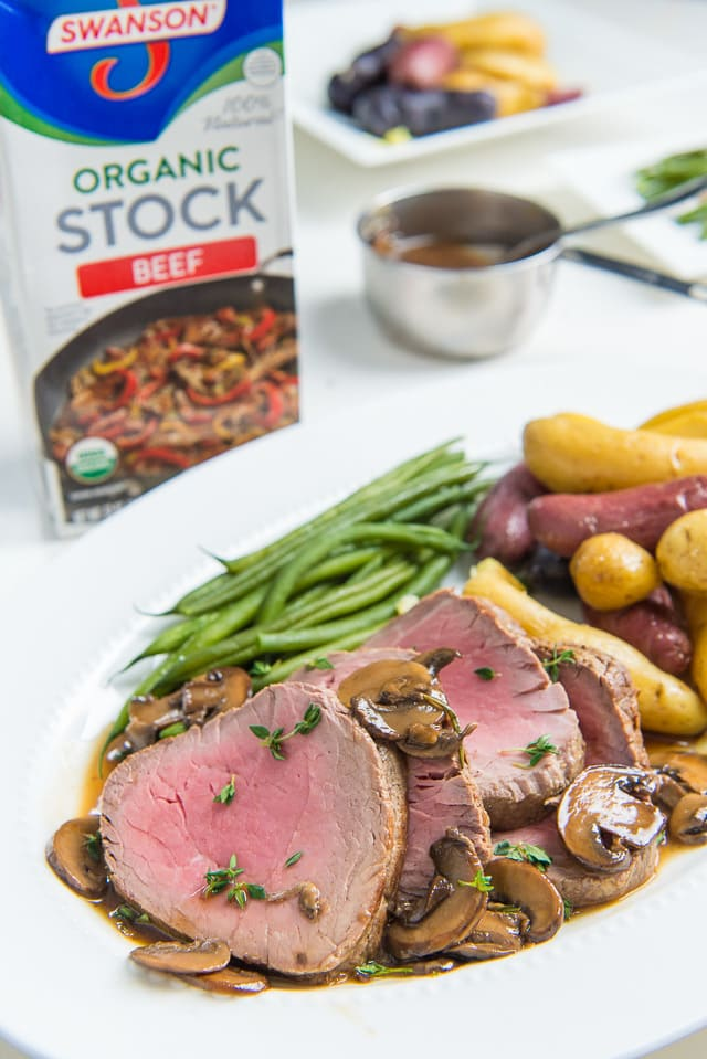 This Roasted Beef Tenderloin with Mushroom Pan Sauce is perfect for an easy holiday meal!