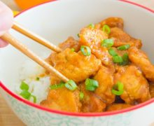 How to Make Orange Chicken from scratch in 15 minutes! It's a great weeknight dinner served along steamed white rice.