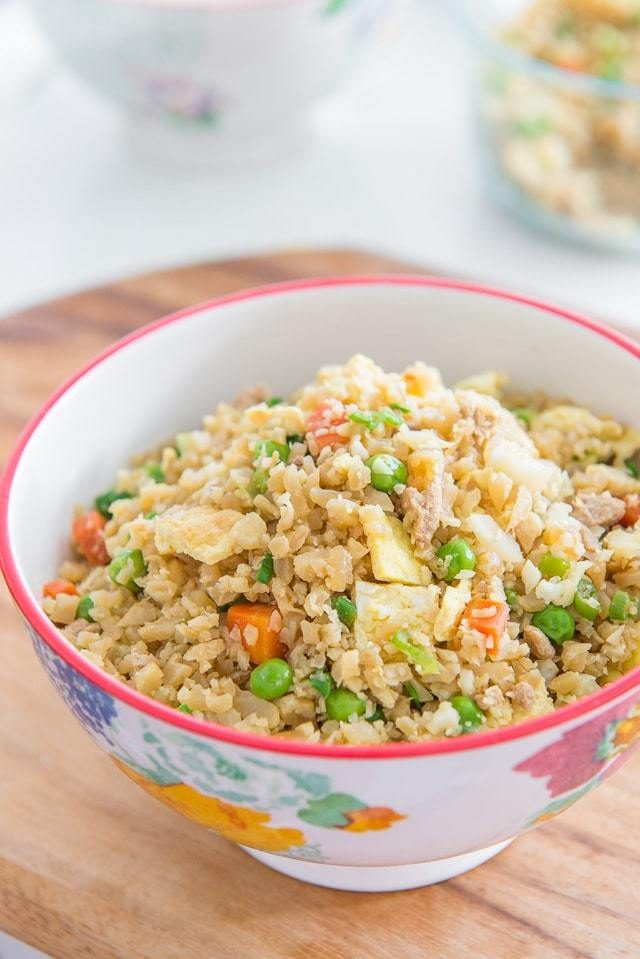 Ready in 15 minutes and SO easy to make, this Cauliflower Fried Rice with Chicken is healthy, low-carb, full of protein, and full of veggies!