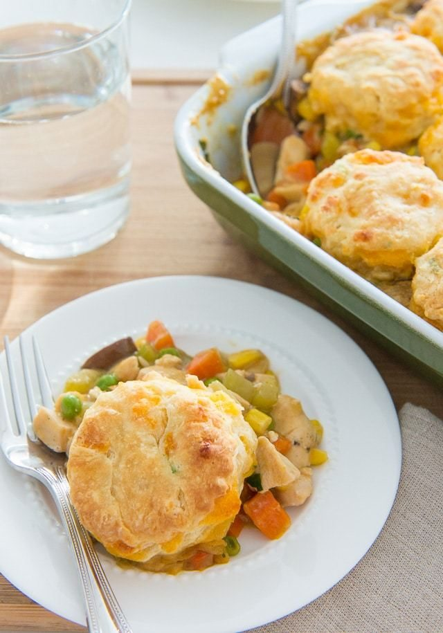 This Cheddar Biscuit-Topped Barbecue Chicken Pie is pure comfort for dinner!
