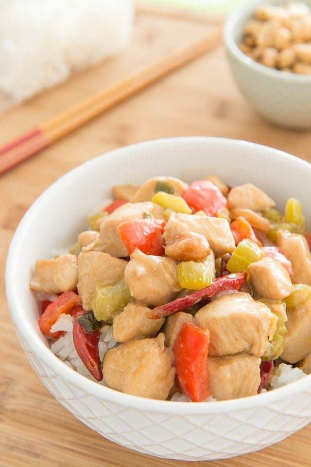 Kung Pao Chicken! It's a Quick & Easy Chinese Takeout at Home favorite, ready in about 20 minutes!