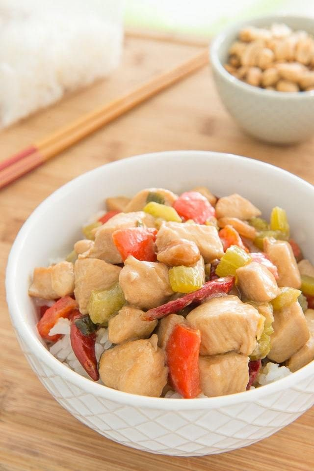 Chinese Takeout at Home, in about 20 minutes! Kung Pao Chicken is an easy stir fry to make for dinner.