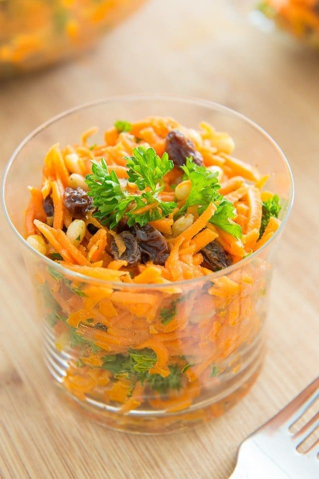 Easy Shredded Carrot Salad with Raisins and Pine Nuts