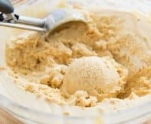 Scoop Of Peanut Butter Semifreddo Ice Cream With OXO Ice Cream Scoop