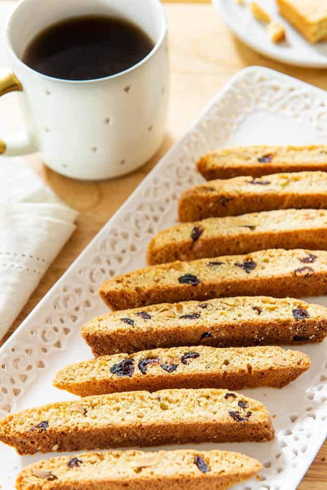 Biscotti - On a White Platter with Cranberries and Orange