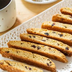 Biscotti On a White Platter with Cranberries and Orange