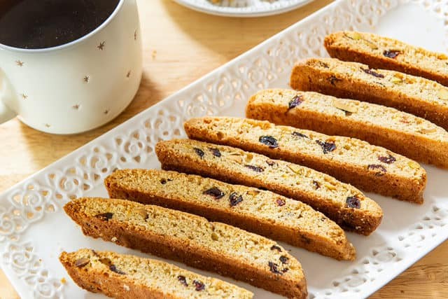 Biscotti Cookies - On a White Tray with Cup of Coffee On Side