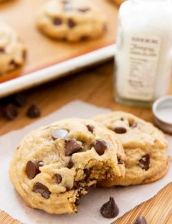 Chocolate Chip Cookie Recipe - Served on Wax paper on Wooden board