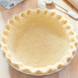 Pie Crust Pressed Into a Pie Plate and Pricked with a Fork