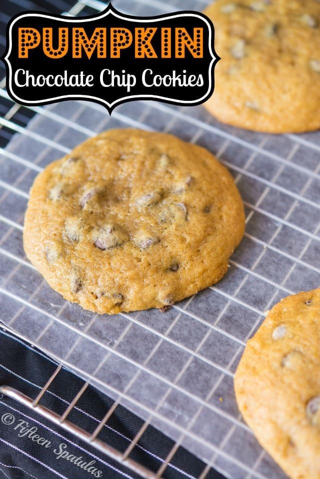 Fresh Pumpkin Chocolate Chip Cookies Recipe @fifteenspatulas
