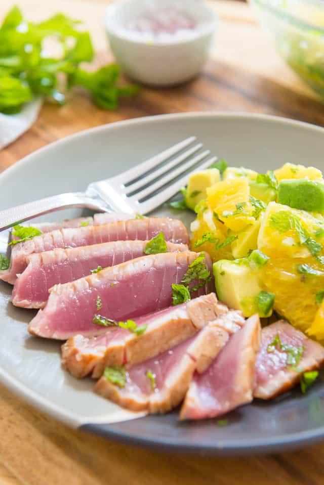Seared Ahi Tuna with Orange Avocado Salsa #ahi #ahituna #seafood #healthy #orangesalsa