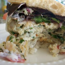 Flounder Burgers with Greens on White Plate