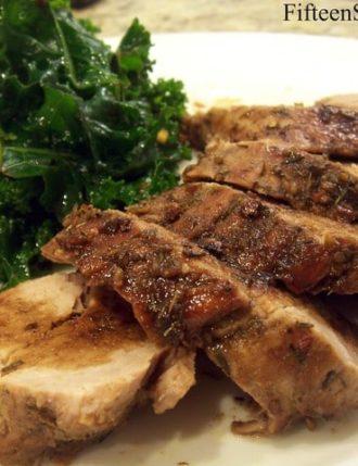 Winter Rub Pork Tenderloin with Marinated Kale