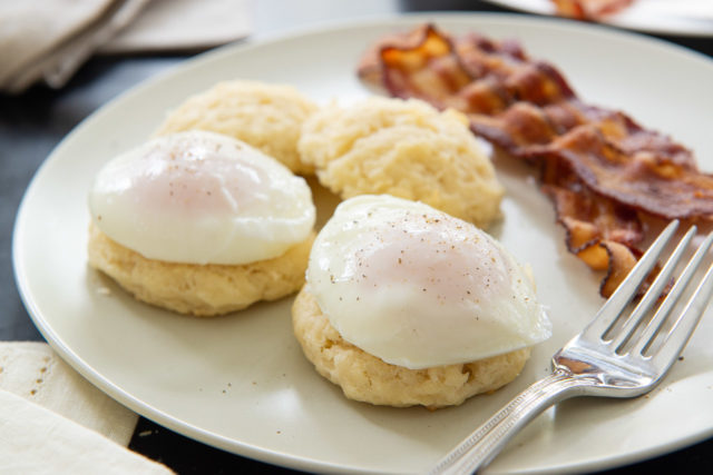 Perfect Poached Eggs - on Drop Biscuits with Pepper and Bacon