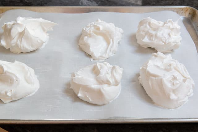 Mini Pavlovas Spread on parchment
