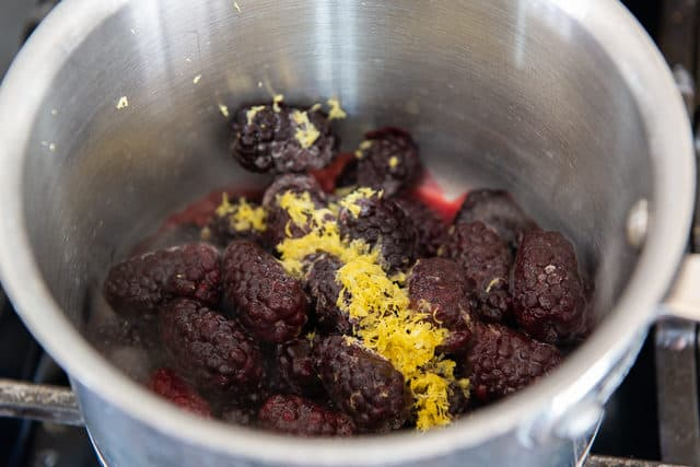 Blackberries, Lemon Zest, and Sugar in saucepan