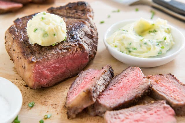 Seared Steak With Chive Compound Butter - how to sear steak