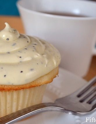 White Velvet Cupcakes with Earl Grey Buttercream