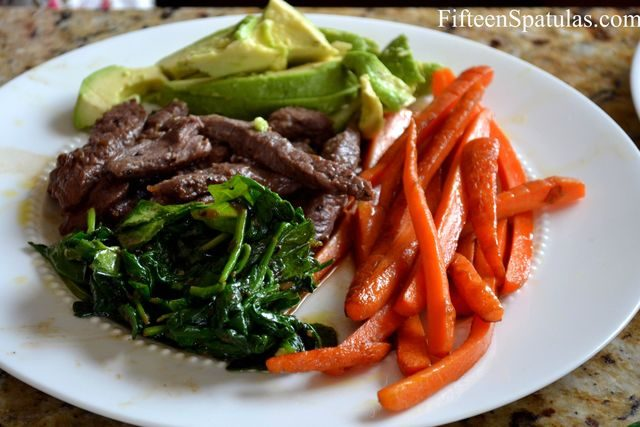 Cooked Carrot Sticks, Bulgogi Beef, Spinach, and Avocado for Filling