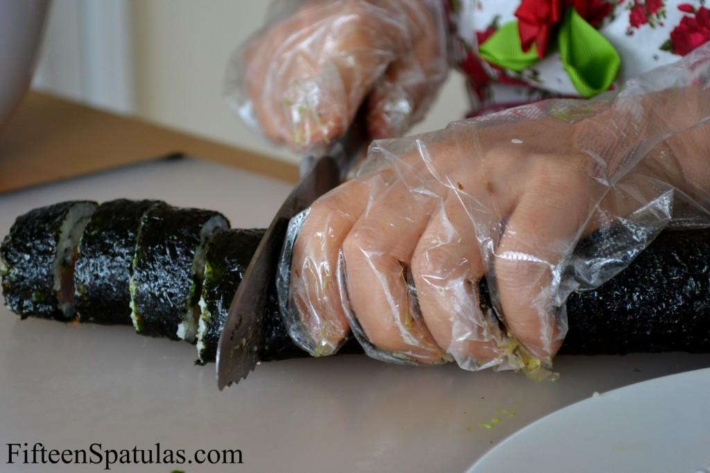 Slicing Kim Bap with Serrated Knife