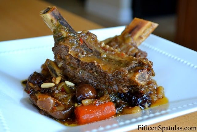 Korean Short Ribs - Plated in White Bowl With Carrots and Chestnuts