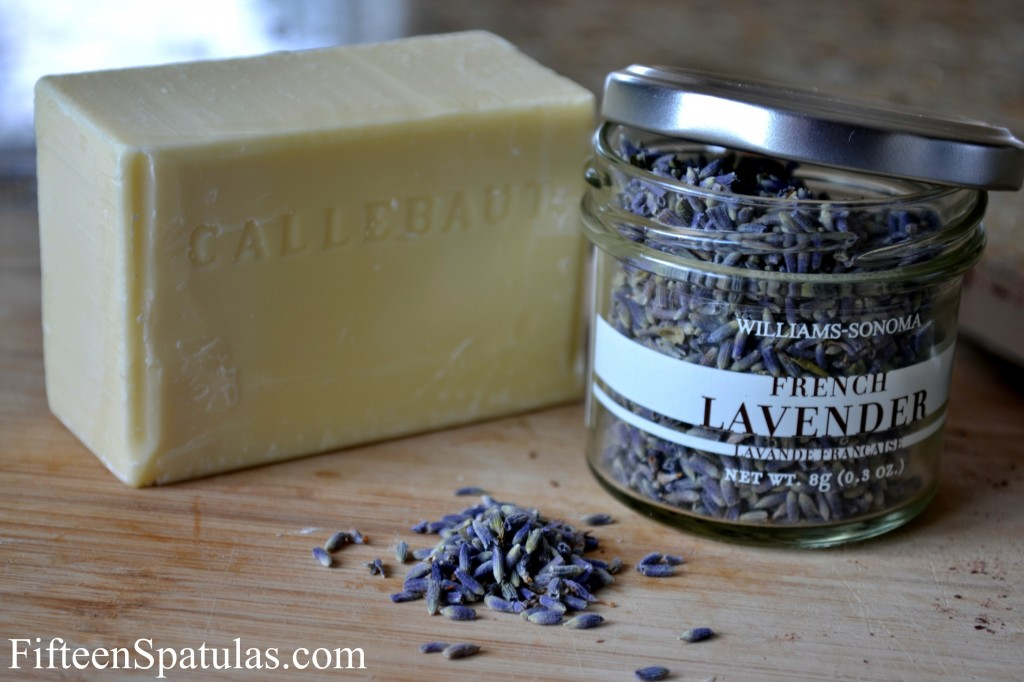 Block of Callebaut White Chocolate and Williams Sonoma Dried Lavender
