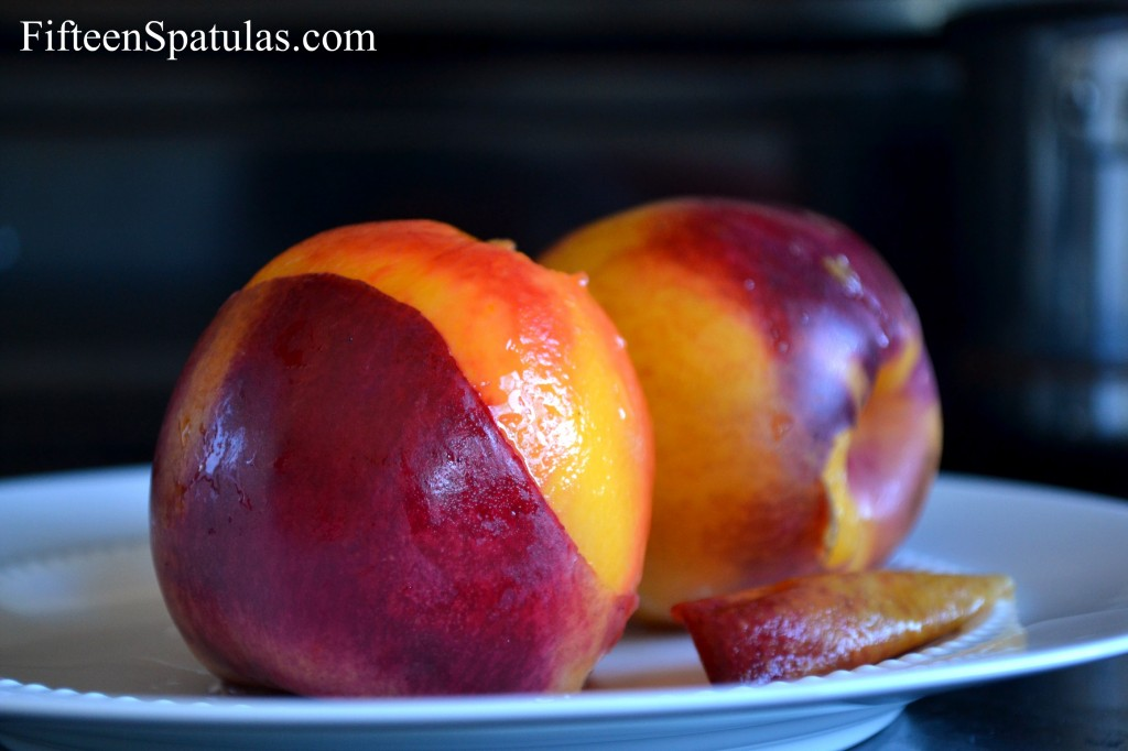 Partially Skinned Poached Nectarines