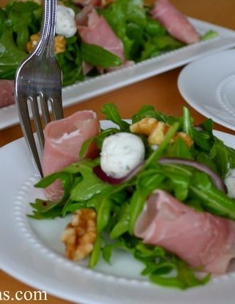 Prosciutto, Goat Cheese, and Walnut Arugula Salad