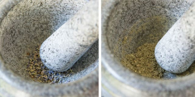 Grinding Dried Lavender in Mortar and Pestle for Shortbread Cookies
