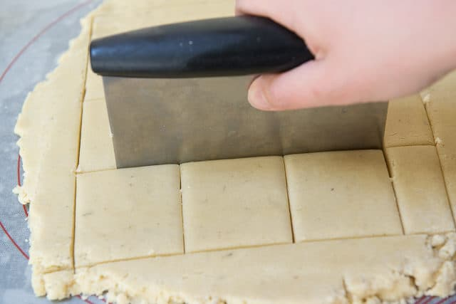 Cutting Shortbread Cookie Squares for Lavender Cookies