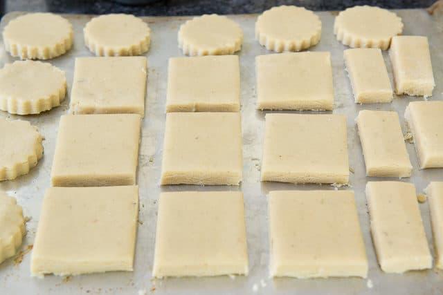 Cut Shortbread Cookie Dough On Sheet Pan
