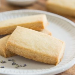 Lavender Shortbread Cookies On a Plate with Dried Lavender
