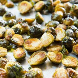 Roasted Brussel Sprouts Served on a Sheet Pan