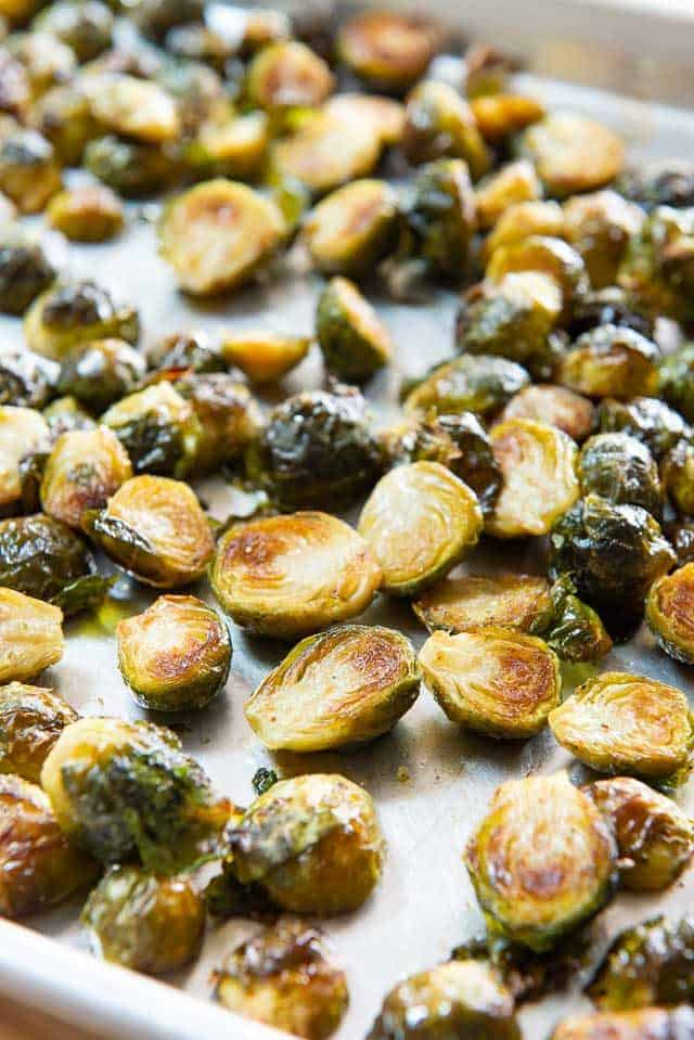 Roasted Brussel Sprouts Recipe - Served on a Sheet Pan