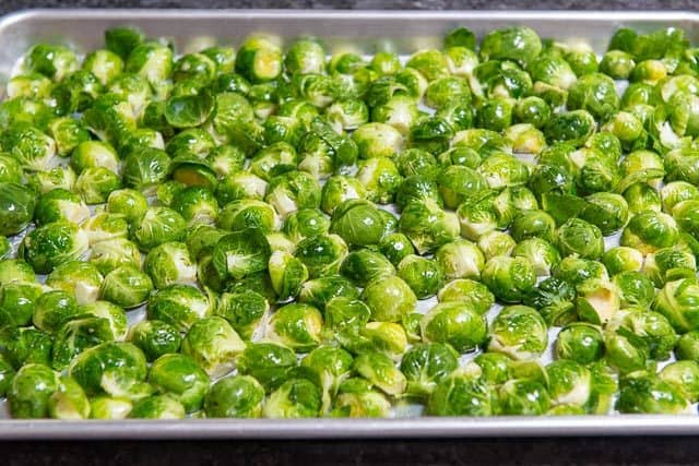 How to Roast Brussel Sprouts - Lay on Sheet Pan in single Layer