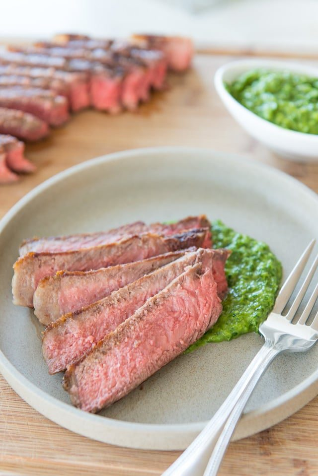 Dinner in 15 minutes! Steak with Scallion Chimichurri Sauce